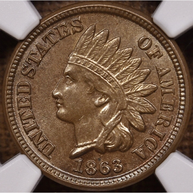 1863 Indian Cent NGC MS62 CAC