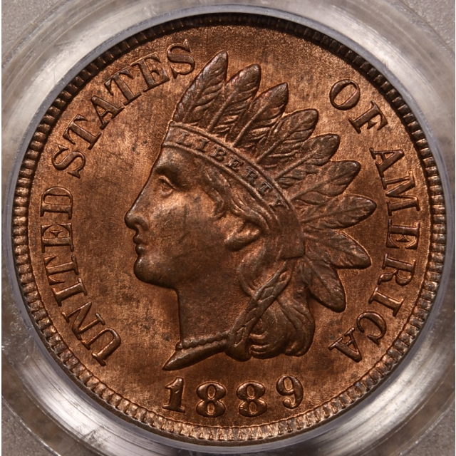 1889 S.31 Indian Cent PCGS MS64 RB CAC, Rev Clashes, a 4-Star variety