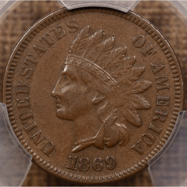 1869/69 S.4 Indian Cent PCGS XF40 CAC
