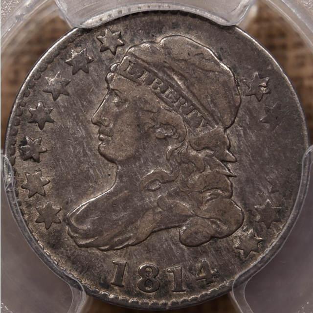 1814 JR-2 Large Date Capped Bust Dime PCGS VF25 CAC
