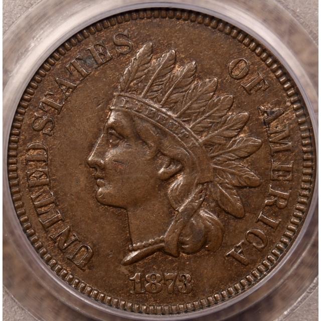 1873 Open 3 Indian Cent PCGS AU55 CAC