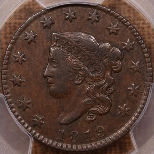 1819 N.9 Small Date Coronet Head Cent PCGS AU50