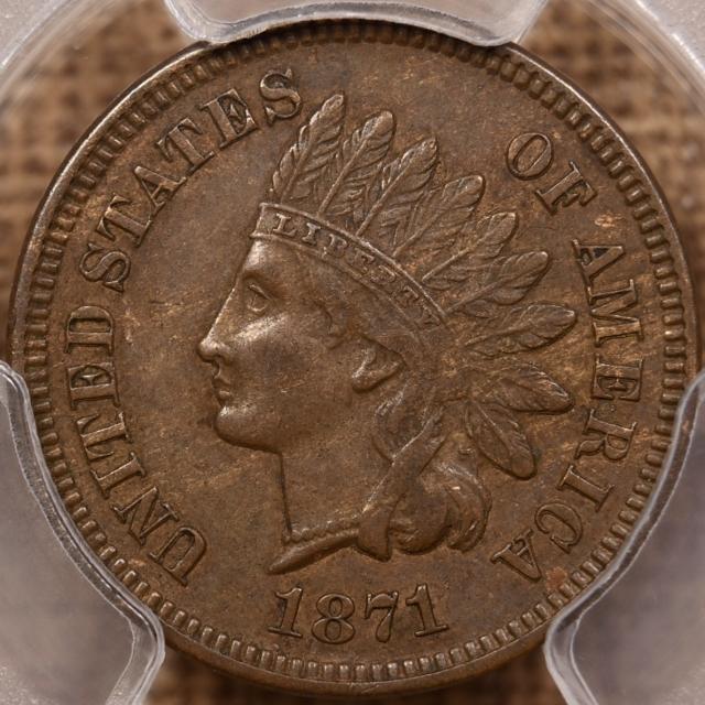 1871 Indian Cent PCGS AU55 CAC