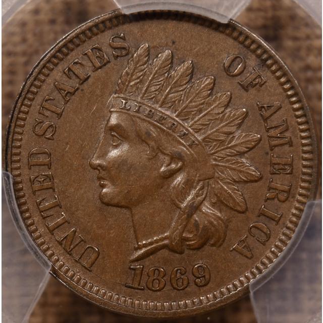 1869 Indian Cent PCGS AU58+ CAC