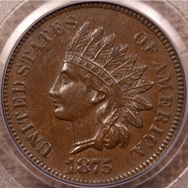 1875 Indian Cent PCGS AU58 CAC, Repunched 1