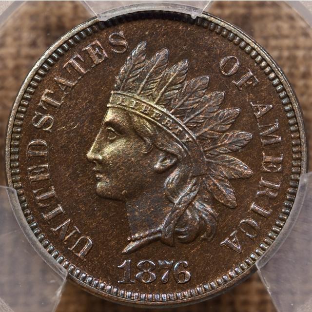 1876 Indian Cent PCGS PR64 BN CAC, fabulous color!