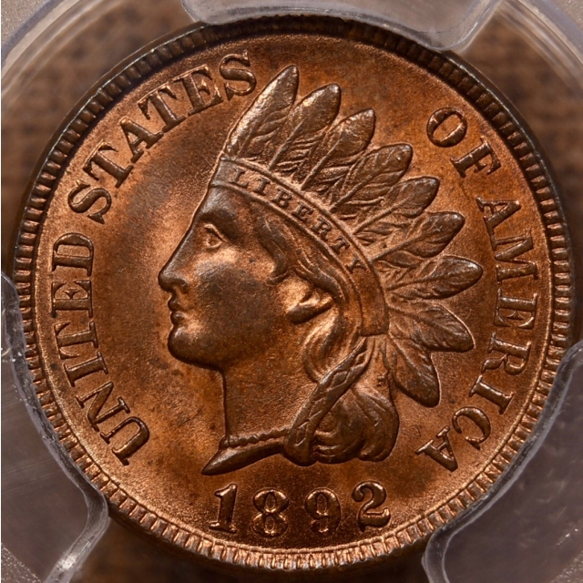 1892 Indian Cent PCGS MS64 RB, with Eagle Eye Photo Seal