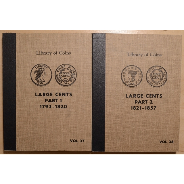 Library of Coins Volumes 37 and 38, Large Cents Part 1 (1793-1820) and Part 2 (1821-1857) complete