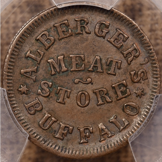 1863 F-105B-1a Alberger's, Buffalo NY Civil War Store Card Token PCGS AU58