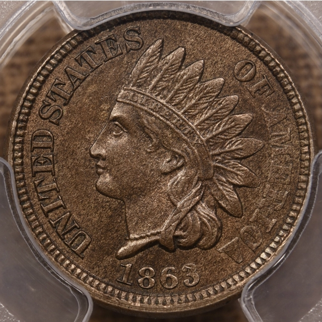 1863 Indian Cent PCGS MS63 CAC, PQ!