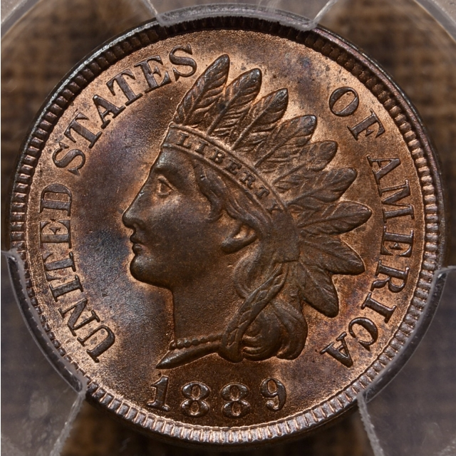 1889 Indian Cent PCGS MS65 RB CAC, PQ+...Stunning!