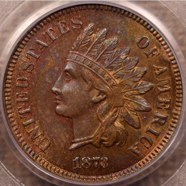 1873 Closed 3 Indian Cent PCGS MS64 RB, Eagle Eye Photo Seal