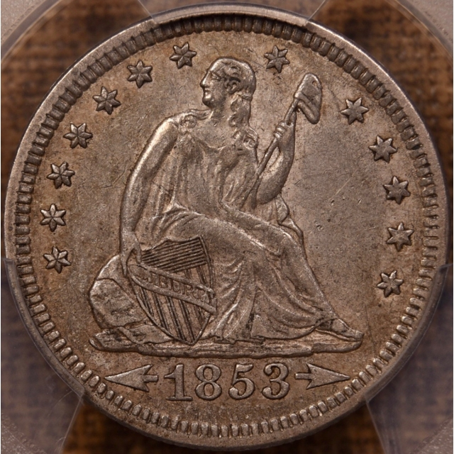 1853 Arrows and Rays Liberty Seated Quarter PCGS AU50