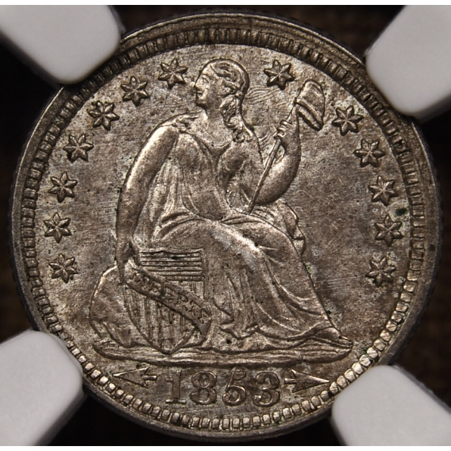 1853 Arrows Seated Half Dime NGC MS62