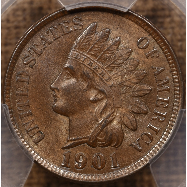 1901 Indian Cent PCGS MS63 BN PQ+
