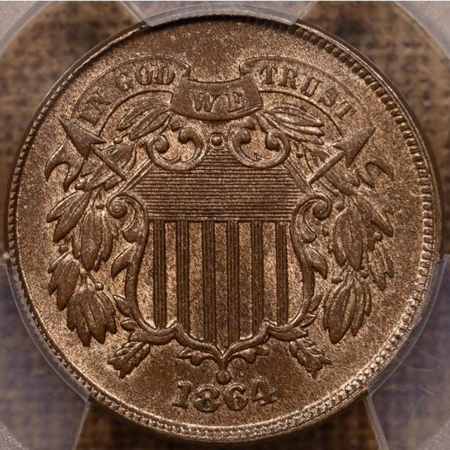 1864 Large Motto Two Cent Piece PCGS MS64 RB