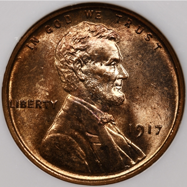1917 Lincoln Cent NGC MS64 RB, Perfect No Barcode Fatty