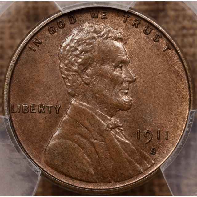1911-S Lincoln Cent PCGS MS64+ BN CAC