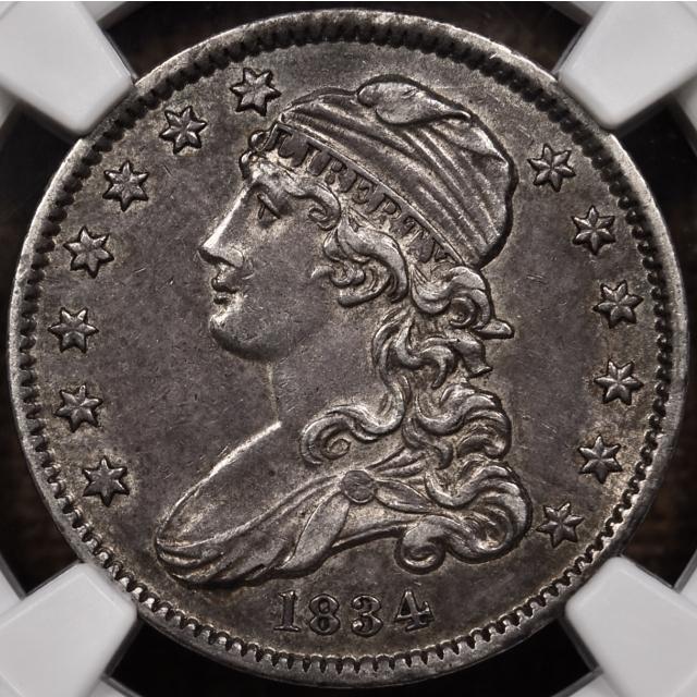 1834 B.1 O/F Capped Bust Quarter NGC AU55