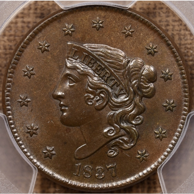 1837 N.6 Medium Letters Coronet Head Cent PCGS MS64 BN CAC