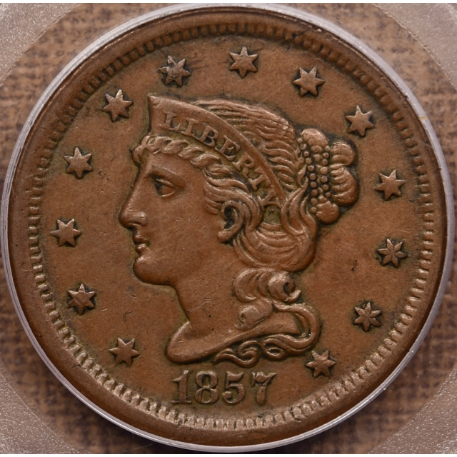 1857 Large Date Braided Hair Cent PCGS AU50 OGH CAC