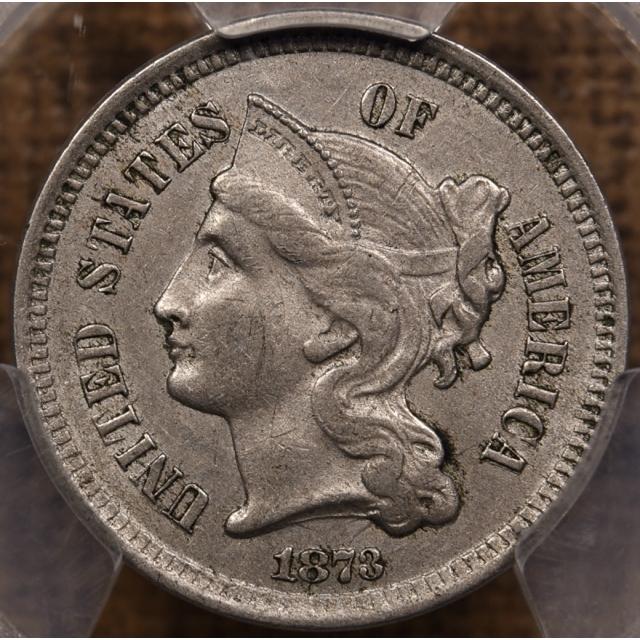 1873 Closed 3 Three Cent Nickel PCGS AU53