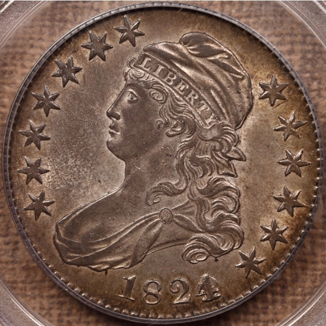 1824 O.103 4 Over Various Dates Capped Bust Half Dollar PCGS AU55 GOLD CAC