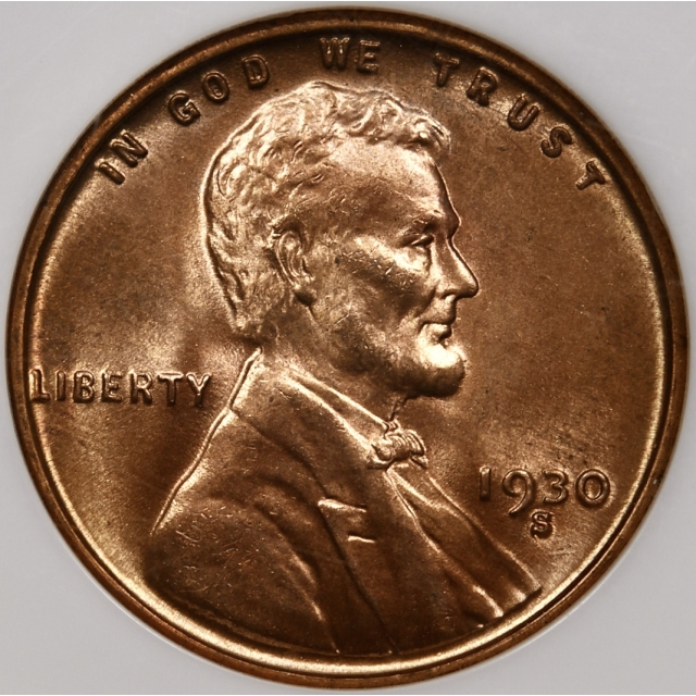 1930-S Lincoln Cent NGC MS65 RD, No-Line Fatty