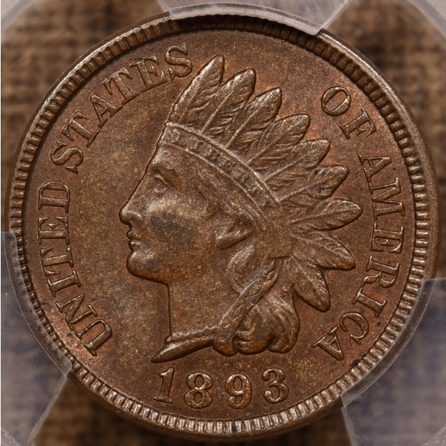 1893 Indian Cent PCGS MS63 BN