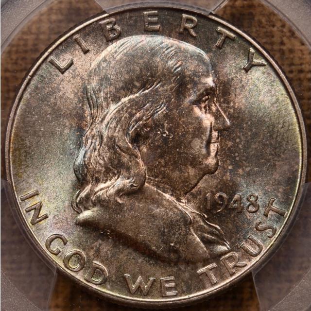 1948-D Franklin Half Dollar PCGS MS64 FBL, Mint set toning