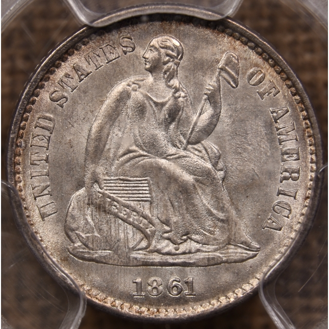 1861 Liberty Seated Half Dime PCGS MS64 CAC
