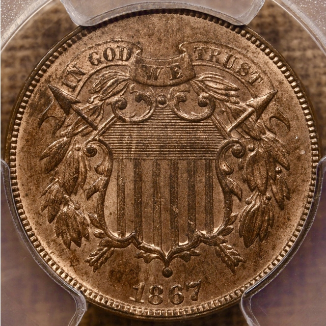 1867 Two Cent Piece PCGS MS64 RB CAC