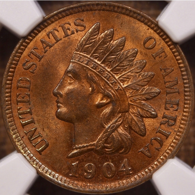 1904 Indian Cent NGC MS64 RB CAC