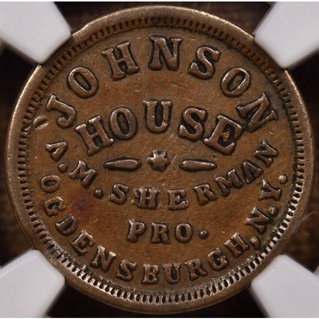 1863 F-665B-2a R4 Ogdensburg, NY Johnson House Civil War Store Card NGC XF45 BN