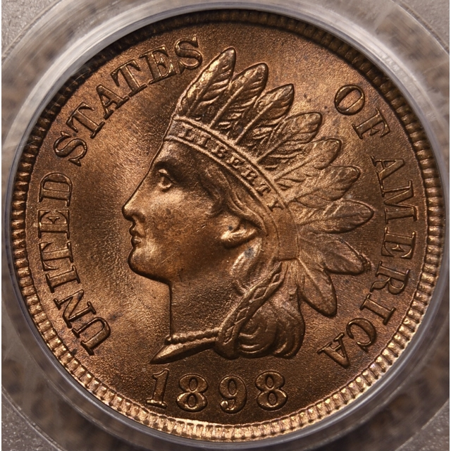 1898 Indian Cent PCGS MS65 RB CAC, Cool Die Chip