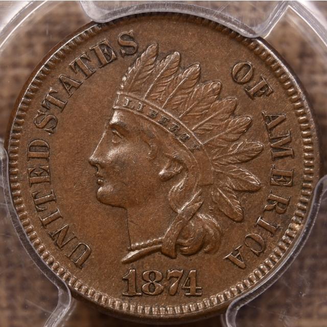1874 Indian Cent PCGS AU58