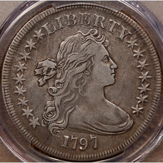 1797 B.1 BB-73 9X7 Large Letters Draped Bust Dollar PCGS VF35