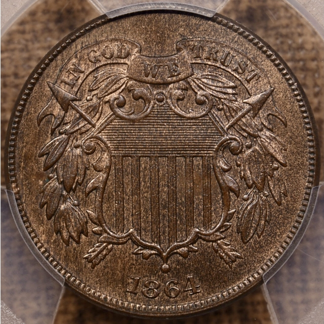 1864 Large Motto Two Cent Piece PCGS MS65 BN CAC