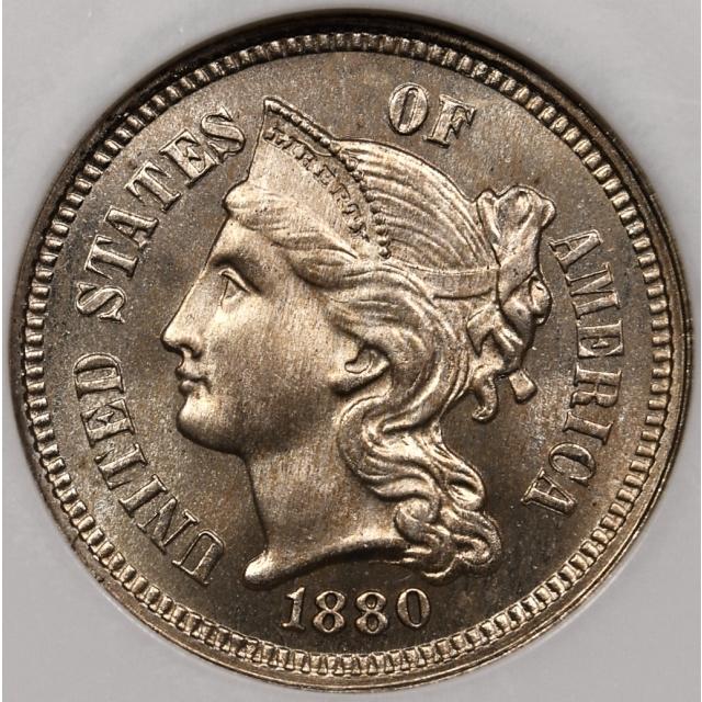 1880 Proof Three Cent Nickel NGC PF66 CAC, No Barcode Fatty