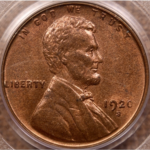 1920-S Lincoln Cent PCGS MS64 RB CAC