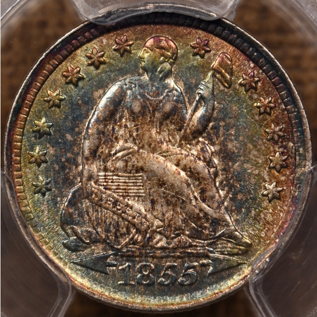 1855 Arrows Liberty Seated Half Dime PCGS AU58 CAC, outrageous toning!