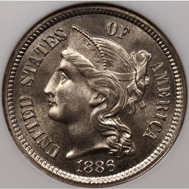 1886 Three Cent Nickel NGC PR64 Fatty CAC