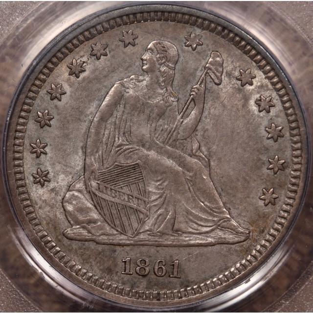 1861 Liberty Seated Quarter PCGS AU58 CAC