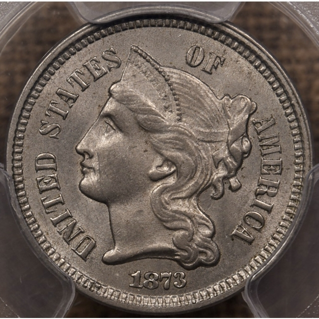 1873 Open 3 Three Cent Nickel PCGS MS63