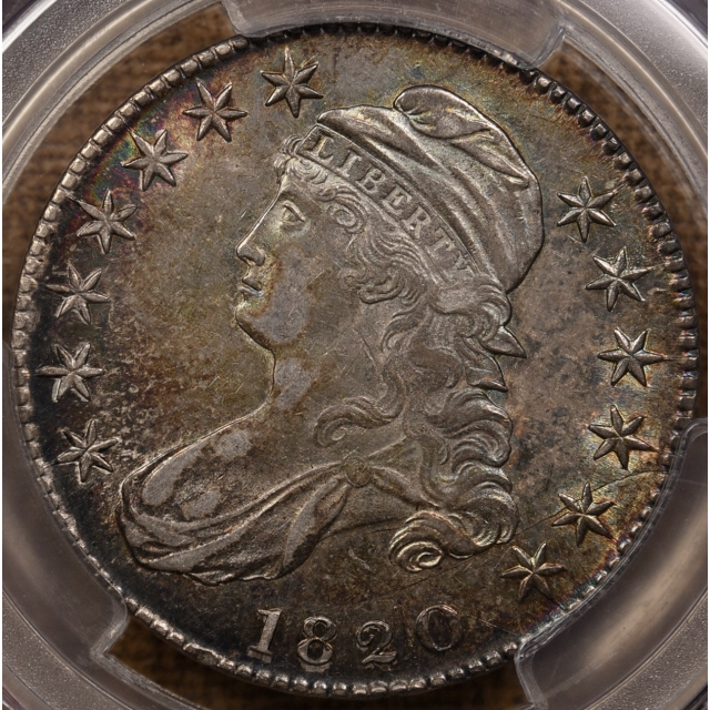 1820 O.103a Curl Base 2, Small Date Capped Bust Half Dollar PCGS AU58 CAC