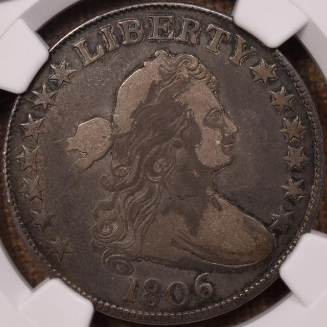 1806 O.127a R6 Draped Bust Half Dollar NGC F15