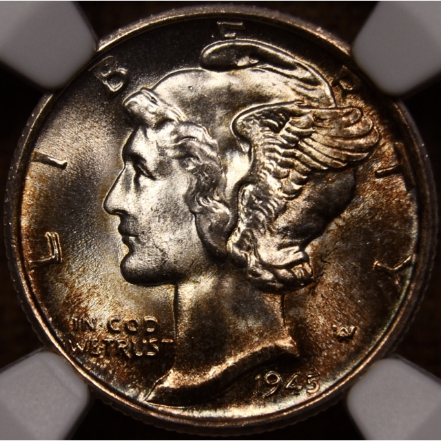 1945-S Mercury Dime NGC MS67, album color