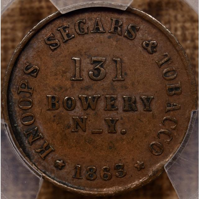 1863 NY-630C-11a R4 Copper PE CWSC Knoops Segars & Tobacco PCGS AU55