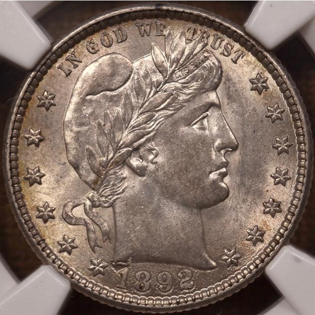 1892-O Barber Quarter NGC AU58 CAC