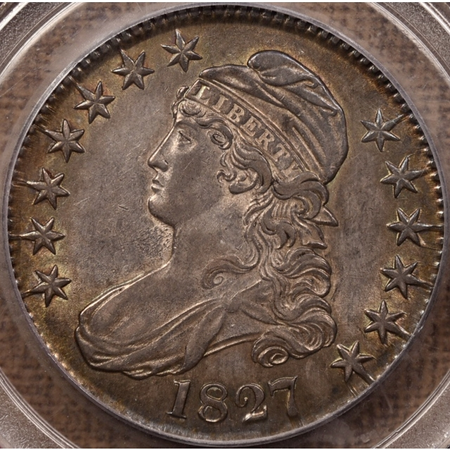 1827 O.143 Square Base 2 Capped Bust Half Dollar PCGS AU55 CAC